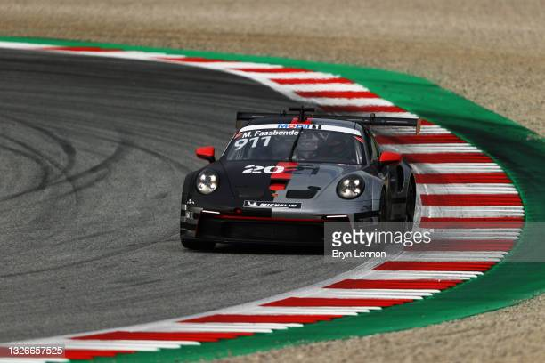 Michael Fassbender of Ireland and Porsche Motorsport drives during practice ahead of round 3 of the Porsche Mobil 1 Supercup at Red Bull Ring on July...