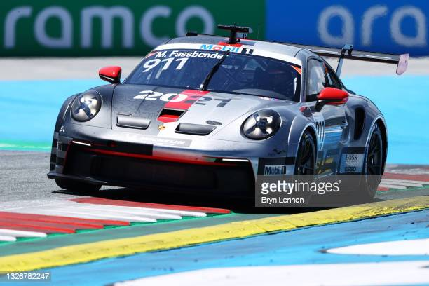 Michael Fassbender of Ireland and Porsche Motorsport drives during qualifying ahead of round 3 of the Porsche Mobil 1 Supercup at Red Bull Ring on...