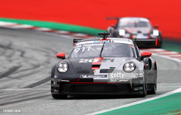 Michael Fassbender of Ireland and Porsche Motorsport drives during the round 3 race of the Porsche Mobil 1 Supercup at Red Bull Ring on July 04, 2021...
