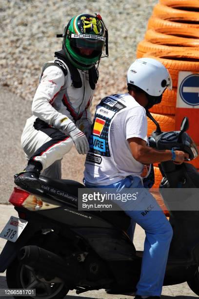 Michael Fassbender of Ireland and Porsche Motorsport drives retires during the Porsche Mobil 1 Supercup at Circuit de Barcelona-Catalunya on August...