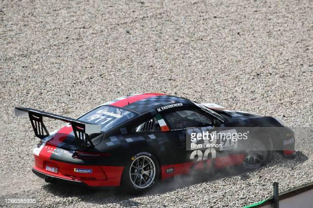 Michael Fassbender of Ireland and Porsche Motorsport retires during the Porsche Mobil 1 Supercup at Circuit de Barcelona-Catalunya on August 16, 2020...
