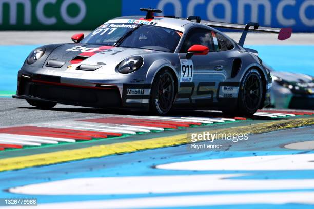 Michael Fassbender of Ireland and Porsche Motorsport spins during qualifying ahead of round 3 of the Porsche Mobil 1 Supercup at Red Bull Ring on...