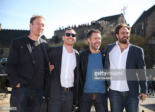 Michael Fassbender Paddy Considine David Thewlis and Justin Kurzel attend a photocall for 'Macbeth' at Edinburgh Castle on September 27 2015 in...