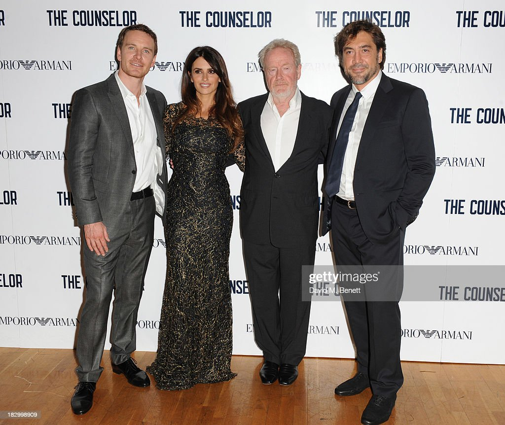 Michael Fassbender, Penelope Cruz, Ridley Scott and Javier Bardem attends a special screening of 'The Counselor' at the Odeon West End on October 3, 2013 in London, England.