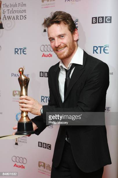 Michael Fassbender receives two awards in the 'Rising Star' and 'Actor in a Lead Role Film' catagories for his role in 'Hunger' at the Irish Film TV...