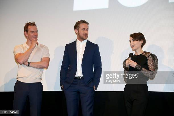 Michael Fassbender, Ryan Gosling and Rooney Mara attend the world premeire of Terrence Malick's new film Song to Song at the Paramount Theater during...