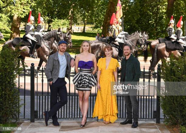 Michael Fassbender Sophie Turner Jessica Chastain and James McAvoy attend the XMen Dark Phoenix photocall on May 21 2019 in London England