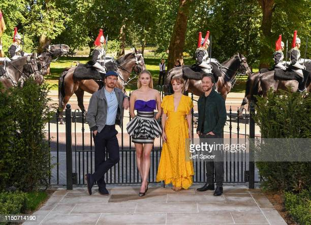 Michael Fassbender, Sophie Turner, Jessica Chastain and James McAvoy attend the X-Men: Dark Phoenix photocall on May 21, 2019 in London, England.