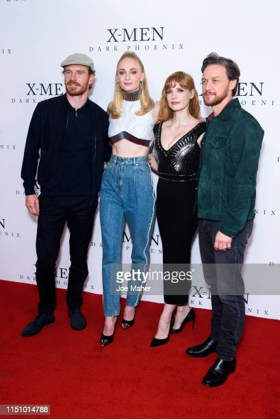 """Michael Fassbender, Sophie Turner, Jessica Chastain and James McAvoy attend an exclusive fan event for """"X-Men: Dark Phoenix"""" at Picturehouse Central..."""