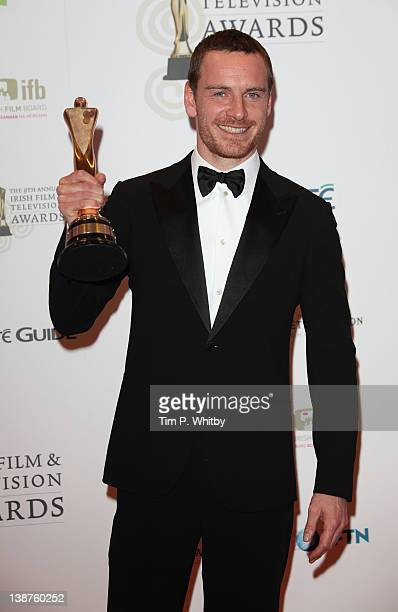 Michael Fassbender with the award for Best Actor in a Film for Shame in the Winners Room at the Irish Film and Television Awards 2012 at the Dublin...