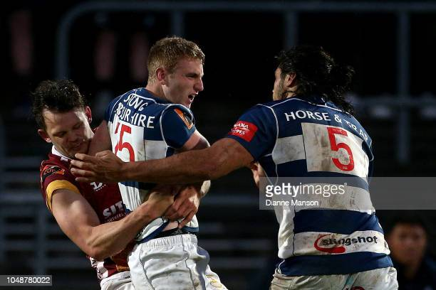 Michael Fatialofa of Auckland tries to break up and altercation between Lewis Ormond of Southland and Jordan Trainor of Auckland during the round...
