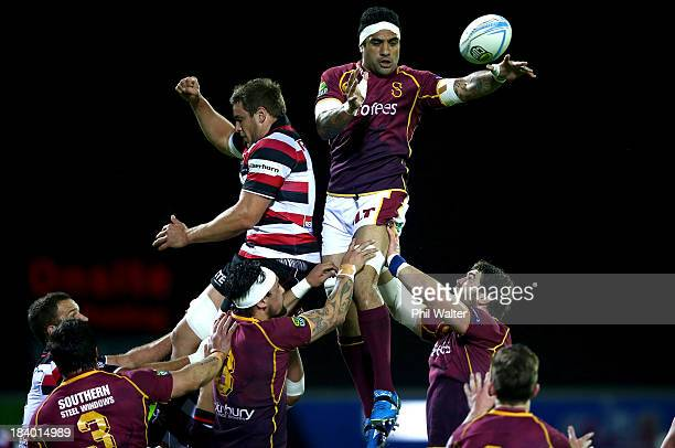 Michael Fatialofa of Southland clears the ball from the lineout during the round nine ITM Cup match between Counties Manukau and Southland at...