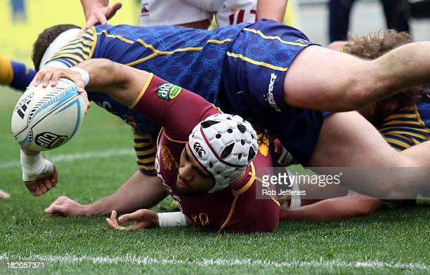 Michael Fatialofa of Southland comes up just short of scoring a try during the round seven ITM Cup match between Otago and Southland at Forsyth Barr...