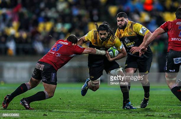 Michael Fatialofa of the Hurricanes makes a break during the 2016 Super Rugby Final match between the Hurricanes and the Lions at Westpac Stadium on...