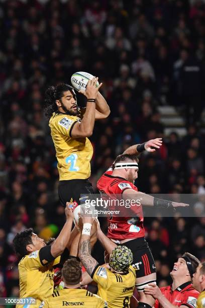 Michael Fatialofa of the Hurricanes wins a lineout during the Super Rugby Semi Final match between the Crusaders and the Hurricanes at AMI Stadium on...