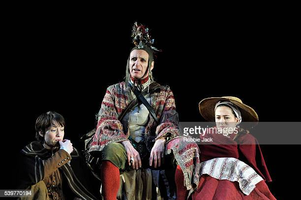 Michael Feast as Touchstone Georgina Rich as Rosalind and Phoebe Fox as Celia in William Shakespeare's As You Like It directed by Stephen Unwin at...
