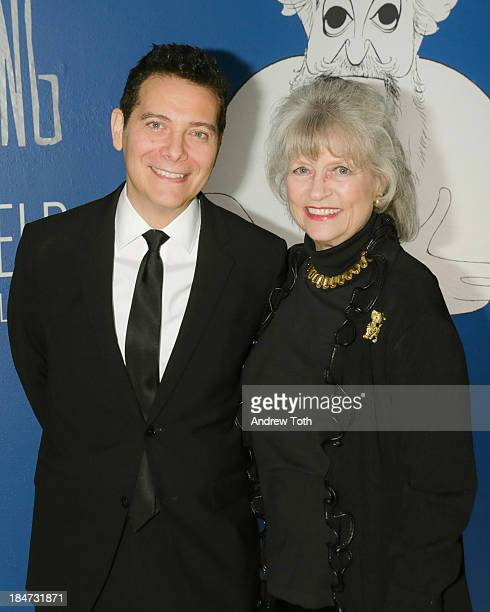 Michael Feinstein and Louise Kerz Hirschfeld attend the VIP reception of The Line King Al Hirschfeld At The New York Public Library at The New York...