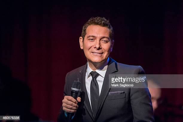 """Michael Feinstein performs during the opening night of """"Happy Holidays: Swingin' With The Big Band, The Music Of Frank Sinatra"""" at Birdland Jazz Club..."""