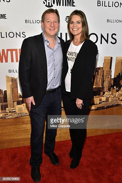 Michael Feldman and journalist Savannah Guthrie attends the Showtime series premiere of Billions at The New York Museum Of Modern Art on January 7...