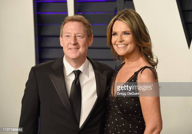 Michael Feldman and Savannah Guthrie attend the 2019 Vanity Fair Oscar Party hosted by Radhika Jones at Wallis Annenberg Center for the Performing...