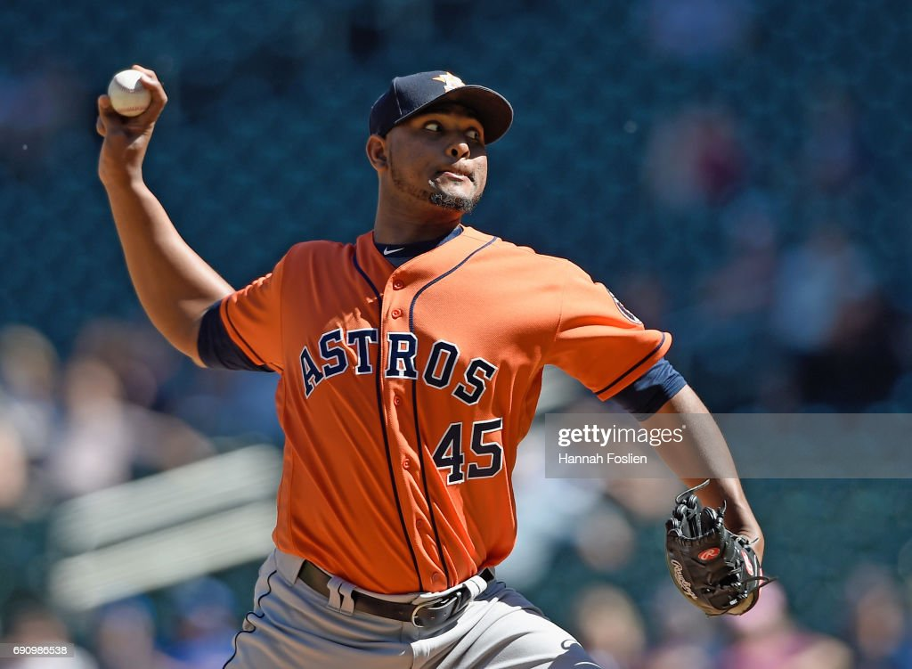 Michael Feliz #45 of the Houston Astros delivers a pitch against the Minnesota Twins during the ninth inning of the game on May 31, 2017 at Target Field in Minneapolis, Minnesota. The Astros defeated the Twins 17-6.