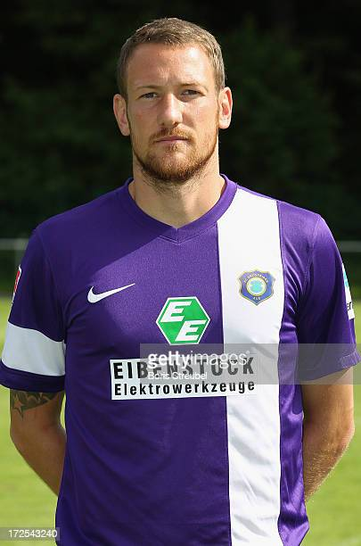 Michael Fink of Aue poses during the Second Bundesliga team presentation of Erzgebirge Aue on June 2 2013 in Aue Germany