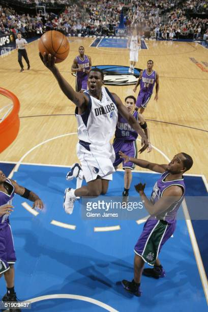 Michael Finley of the Dallas Mavericks goes in for a layup against the Milwaukee Bucks January 2 2005 at the American Airlines Center in Dallas Texas...
