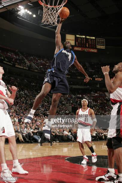 Michael Finley of the Dallas Mavericks shoots against Portland Trail Blazers during a game on April 14, 2005 at the Rose Garden Arena in Portland,...