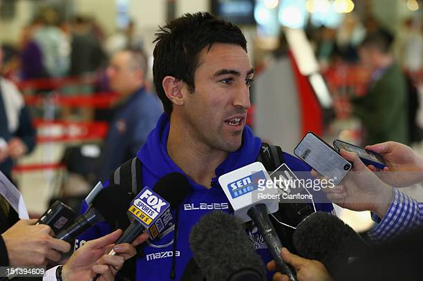 Michael Firrito of the North Melbourne Kangaroos speaks to the media at Melbourne Airport on September 7 2012 in Melbourne Australia