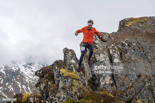 Michael Fischer from USA at The Arctic Triple Lofoten UltraTrail on June 2 2018 in Svolvar Norway Lofoten UltraTrail is one of three races organized...