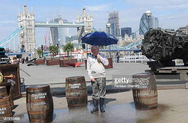 Michael Fish attends a photocall to launch the World's first interactive storm at Design Museum on April 24, 2013 in London, England.
