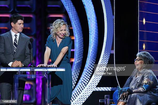 Michael Fishman Alicia Goranson and Roseanne Barr speak onstage at the Comedy Central Roast of Roseanne Barr held at Hollywood Palladium on August 4...