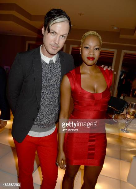 Michael Fitzpatrick and Noelle Scaggs of Fitz and The Tantrums attend the Warner Music Group annual GRAMMY celebration at Sunset Tower on January 26...