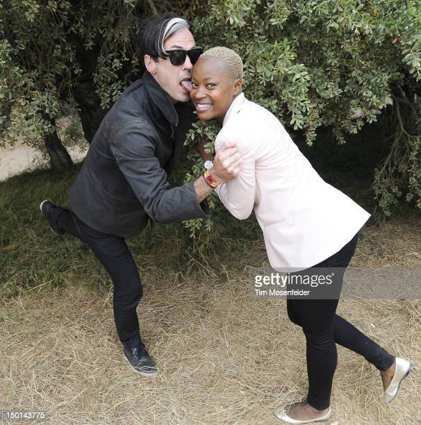 Michael Fitzpatrick and Noelle Scaggs of Fitz and the Tantrums pose at Day One of the Outside Lands Music Art Festival at Golden Gate Park on August...