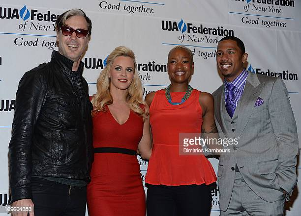 Michael Fitzpatrick of Fitz and the Tantrums Jenny McCarthy Noelle Scaggs and Nick Cannon attend the UJAFederation Of New York Entertainment Media...