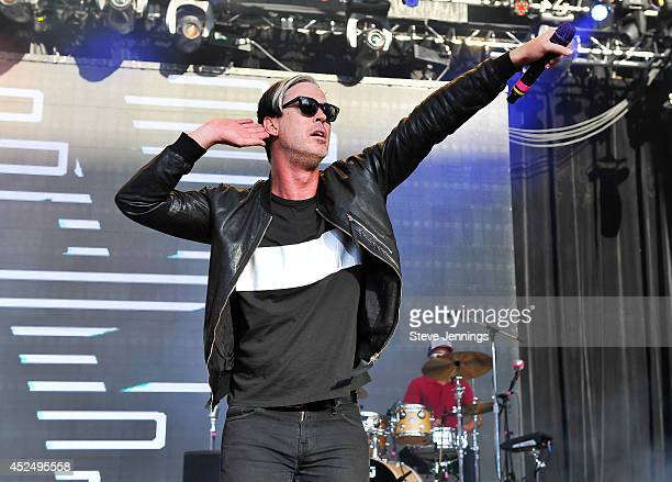Michael Fitzpatrick of Fitz and the Tantrums performs at Live 105's BFD concert at Shoreline Amphitheatre on June 1 2014 in Mountain View California