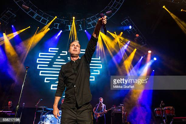 Michael Fitzpatrick of Fitz and The Tantrums performs at Shoreline Amphitheatre on June 4 2016 in Mountain View California