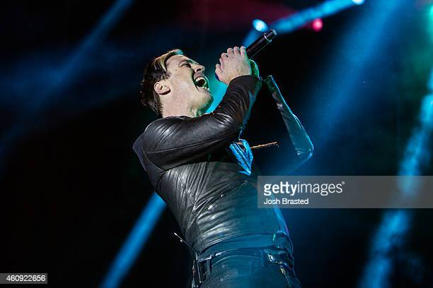 Michael Fitzpatrick of Fitz and The Tantrums performs during the 2014 Allstate fan fest at the Allstate Sugar Bowl in the Jax Brewery Parking Lot on...