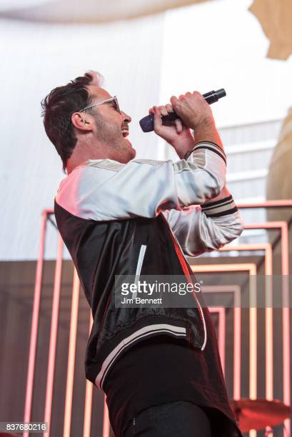 Michael Fitzpatrick of Fitz and The Tantrums performs live on stage at White River Amphitheatre on August 22 2017 in Auburn Washington
