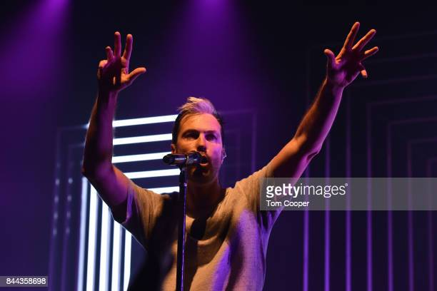 Michael Fitzpatrick of Fitz The Tantrums performs a private concert for SiriusXM subscribers at The Fox Theater on September 7 2017 in Boulder...