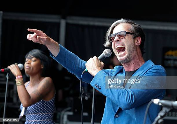 Michael Fitzpatrick of Fitz The Tantrums performs during Dave Matthews Band Caravan at Bader Field on June 26 2011 in Atlantic City New Jersey