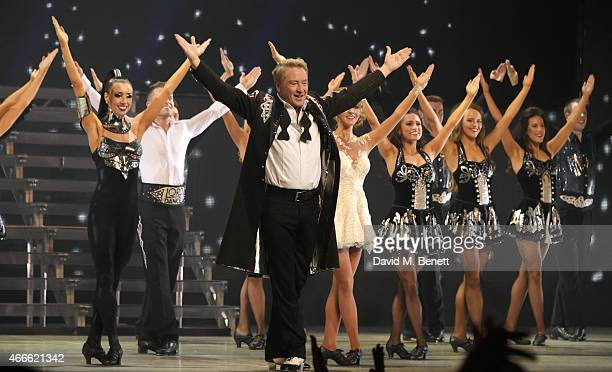 Michael Flatley and cast bow at the curtain call during the Gala Performance of Lord Of The Dance Dangerous Games at The Dominion Theatre on March 17...