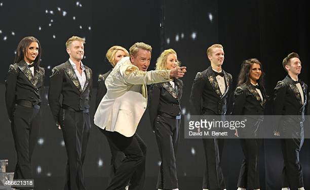 Michael Flatley and cast dance onstage during the Gala Performance of Lord Of The Dance Dangerous Games at The Dominion Theatre on March 17 2015 in...