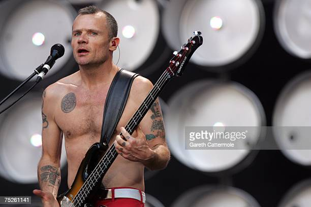 Michael 'Flea' Balzary of American rock band Red Hot Chili Peppers performs on stage during the Live Earth concert held at Wembley Stadium on July 7...