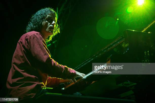 Michael Fleiner pianist of Septeto Internacional seen performing on stage A weekly jazz festival takes place every year at Technopolis in Gazi with...