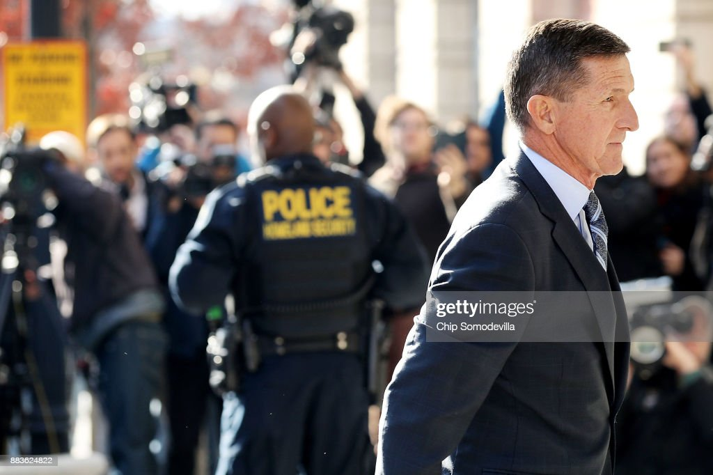 Michael Flynn, former national security advisor to President Donald Trump, arrives for his plea hearing at the Prettyman Federal Courthouse December 1, 2017 in Washington, DC. Special Counsel Robert Mueller charged Flynn with one count of making a false statement to the FBI.