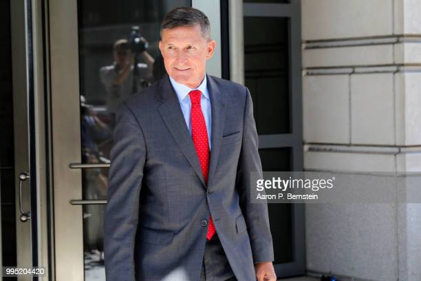 Michael Flynn former National Security Advisor to President Donald Trump departs the E Barrett Prettyman United States Courthouse following a...