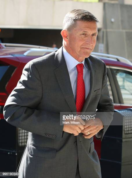 Michael Flynn former national security advisor to US President Donald Trump arrives at the E Barrett Prettyman Federal Courthouse for a status...