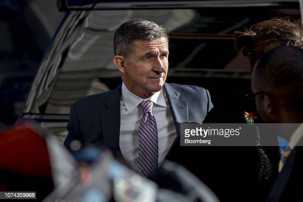 Michael Flynn former US national security adviser center arrives at federal court in Washington DC US on Tuesday Dec 18 2018 President Donald Trump...