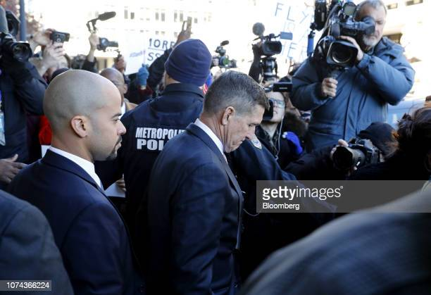 Michael Flynn former US national security adviser exits at federal court in Washington DC US on Tuesday Dec 18 2018 Flynn's sentencing was postponed...